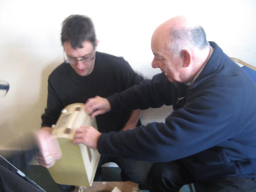 John G0VEH (right) checks  Dave G7UVW's latest acquisition....