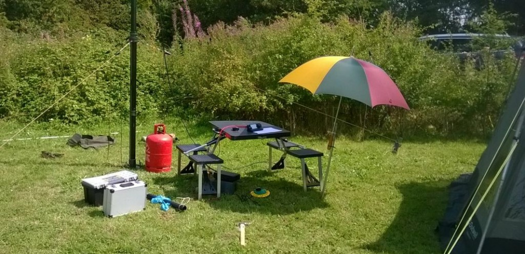 Operating position - including sunshade/umbrella.