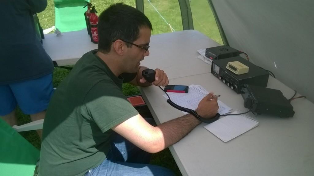 Selim M0XTA operating the  HF station